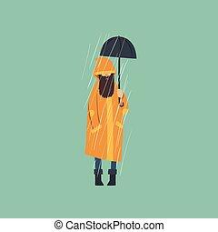Bearded man in orange raincoat with umbrella over autumn rain vector Illustration
