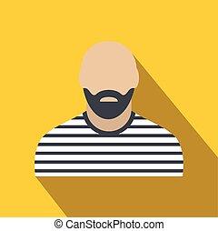 Bearded man in prison garb flat
