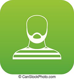 Bearded man in prison garb icon digital green for any design...