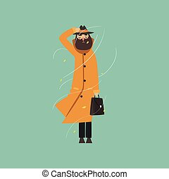 Bearded man in warm orange overcoat and hat on a very windy day outdoors vector Illustration