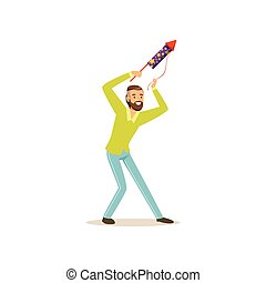 Bearded man launches firework rocket for birthday or festival party. Male character having fun during celebration holiday. Isolated flat vector design