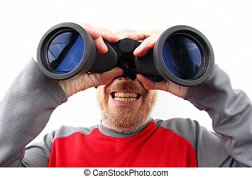 Bearded man looking through binoculars on white background