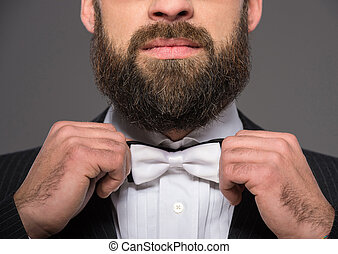 Bearded man - Portrait of a bearded man in a suit and a tie ...