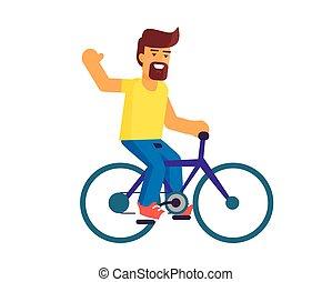Bearded Man Riding on Bike Vector Illustration