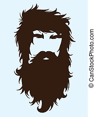 Bearded man silhouette illustration with long hair