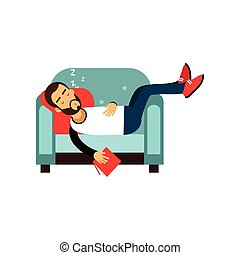 Bearded man sleeping on armchair with book, relaxing person...