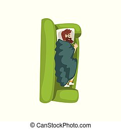 Bearded man sleeping on the sofa, view from above vector Illustration on a white background