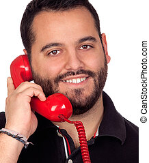 Bearded man speaking by phone