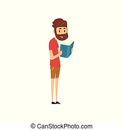 Bearded man standing and reading book, people choosing books in bookstore vector Illustration on a white background