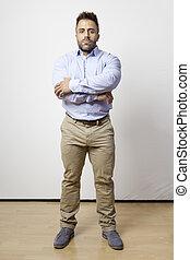 bearded man standing