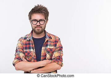 Bearded man - Profile of cute bearded man with his arms...