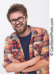 Bearded man - Portrait of happy bearded man. Handsome young...