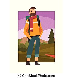 Bearded Man Travelling with Backpack, Male Traveller in Summer Mountain Landscape, Outdoor Activity, Travel, Camping, Backpacking Trip or Expedition Vector Illustration