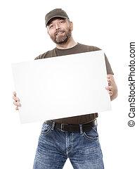 bearded man white board