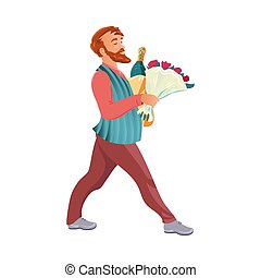 Bearded man with a bouquet of flowers and a bottle of champaign. Vector illustration in flat cartoon style.