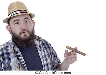 Bearded man with cigar