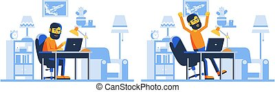 Bearded Man with laptop in home interior