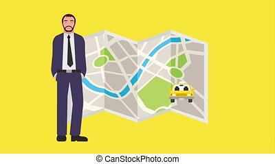bearded man with map navigation gps taxis service animation...