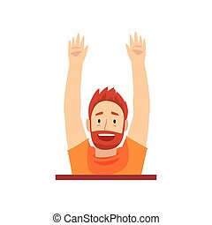 Bearded Man with Raised Hands Looking Out from Behind Brick Wall Cartoon Vector Illustration