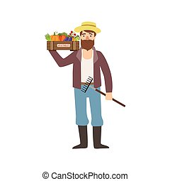 Bearded Man With Rake And Crate Of Vegetables