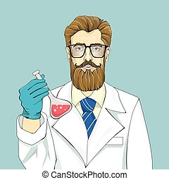 Bearded scientist in white robe holds vial with red fluid on a blue background. Big glasses, blue necktie and brown hair. Half-length graphic portrait. Isolated vector illustration.