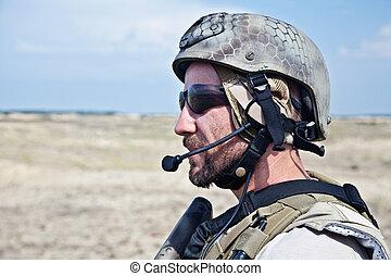 SEAL team member - Bearded SEAL team member in the desert