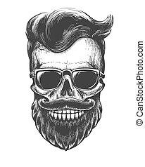 Bearded skull face tattooed