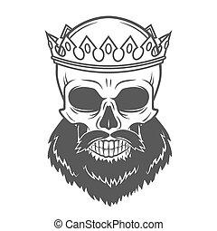 Bearded Skull King with Crown. Vintage Cruel tyrant portrait...