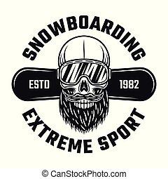 Bearded skull of snowboarder in ski glasses emblem