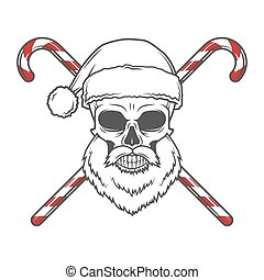 Bearded Skull Santa Claus with candy canes poster. Vintage Christmas old man portrait. Holiday t-shirt illustration.