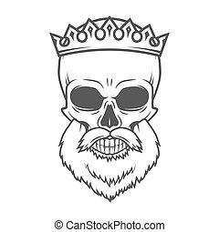 Bearded Skull with Crown design element. Dead King Arthur vintage portrait. Vector Royal t-shirt illustration.