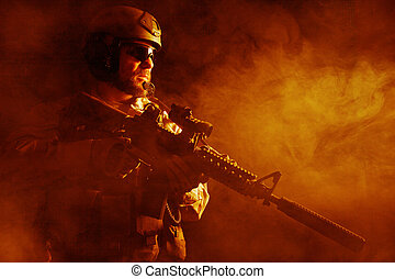 Bearded special forces soldier in the fire