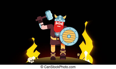 Bearded viking with a hammer on the battlefield. Looped...