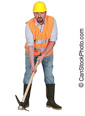 Bearded worker with pick-ax