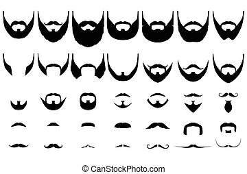 Beards big collection - Set of isolated vector facial hair...