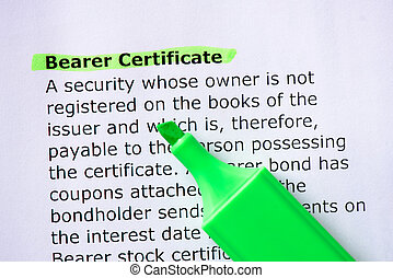 Bearer Certificate words highlighted on the white background