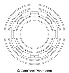 A typical ball bearing isolated over a white background