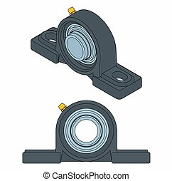 bearing., black , plummer, blok, schets