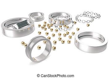 bearing-, montaggio, montaggio, essendo, parte, il, sostegno, 3d, interpretazione, su, uno, bianco, fondo.