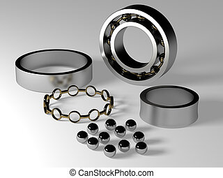Roller bearing dismantled showing bearing surfaces, balls and cage.