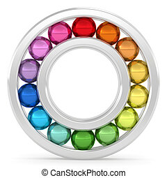 Bearing with colorful balls on white background