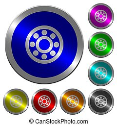 Bearings luminous coin-like round color buttons