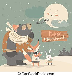 Bear,rabbit and fox watching the moon