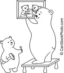 Teddy-bears: father and the son attach a picture on a wall, contours.