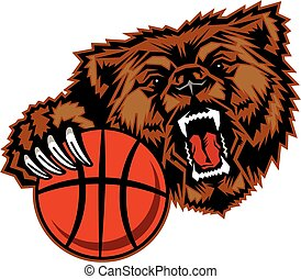 bears basketball mascot with claw holding ball for school,...