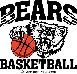 bears basketball team design with mascot holding ball for...