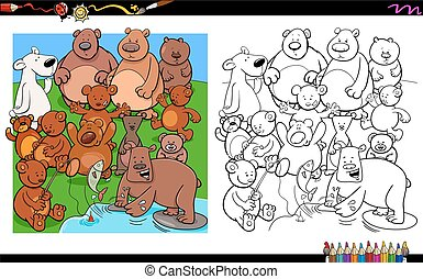 bears characters group coloring book - Cartoon Illustration...