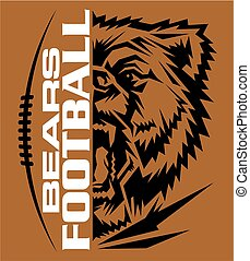 bears football team design with mascot and laces for school,...