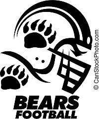 bears football team design with helmet and bear claw