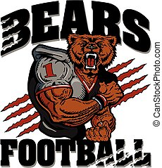 bears football team design with muscular mascot for school,...